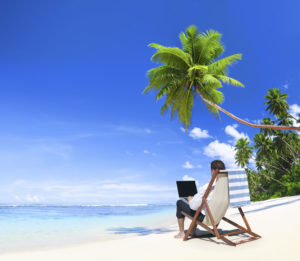 Telecommuting_man on beach